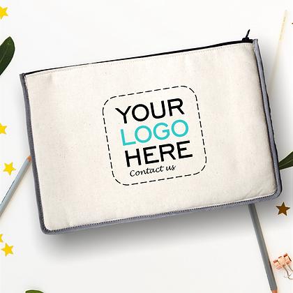 pochette de voyage publicitaire personnalisable avec contour couleur molletonnée fermeture éclaire