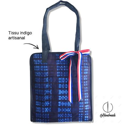TOTE BAG EN INDIGO : Un tissu artisanal très chic et original