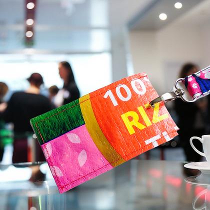 Porte badge écologique recyclé à partir de sac de riz
