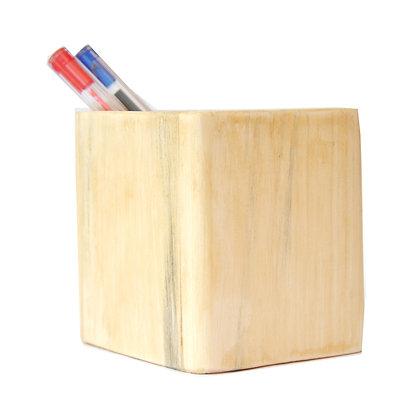 Pot à crayons équitable en bois