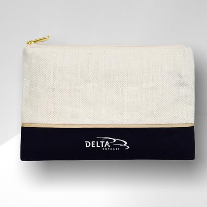 pochette de voyage publicitaire de luxe en lin et coton bicolore personnalisable | Lygo.fr