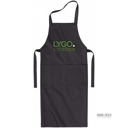 Tablier de cuisine publicitaire équitable en coton oeko tex personnalisable avec logo noir