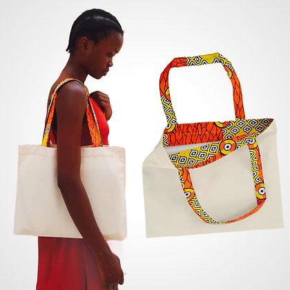 Coton et wax REVERSIBLE Tote bag personnalisable horizontal