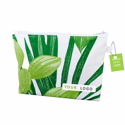 Trousse cosmétique publicitaire 100% écologique personnalisable fabriquée équitablement par Lygo