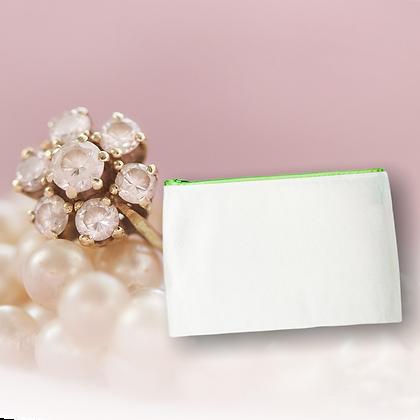 Pochette ligne basic pour accessoires et cosmétique personnalisable en coton avec fermeture verte