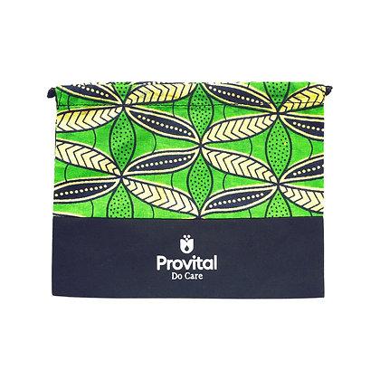 Pochette cosmétique cordon wax et coton personnalisée verte woodin
