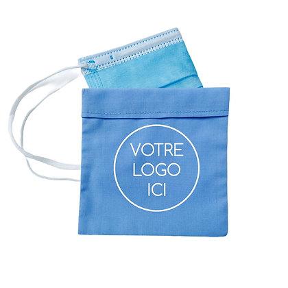 Pochette rangement  masque publicitaire personnalisable avec logo équitable