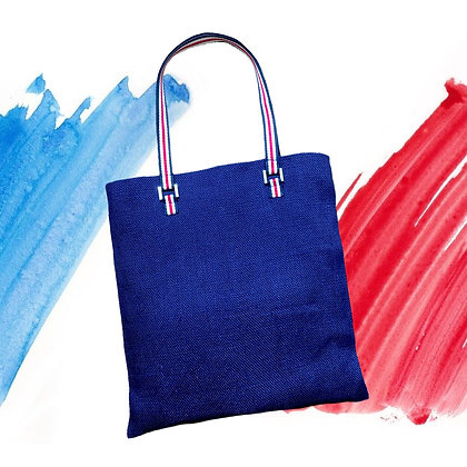 Tote bag publicitaire équitable en toile de jute bleu France
