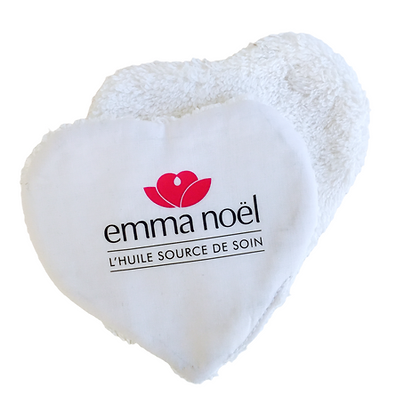 Lingette lavable publicitaire cœur 💔 personnalisable blanche