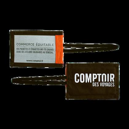 étiquette de bagage personnalisable en coton - bazin équitable | Lygo.fr