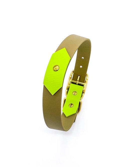 "2,5cm Halsband ""colourful Biothane khaki/kiwi"" Halsumfang: 38,5-46,5 cm"