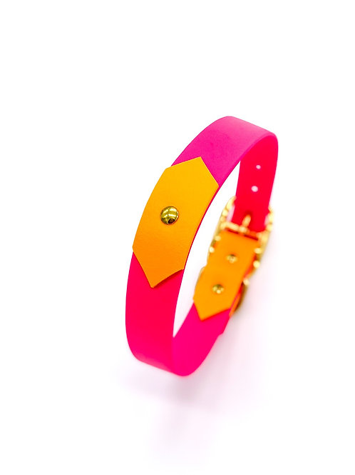 "2,5cm Halsband ""colourful Biothane magenta/mango"" Halsumfang: 39-47 cm"