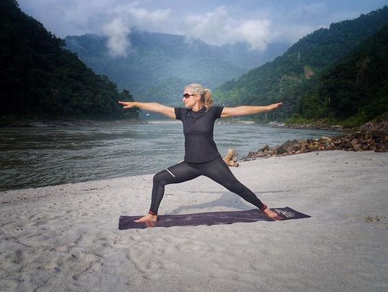 Yoga on the ganges beach.JPG