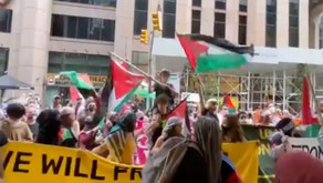 Pro-Palestinian Protesters Chant 'Allahu Akhbar,' Torch Israeli Flag in NYC Demonstration