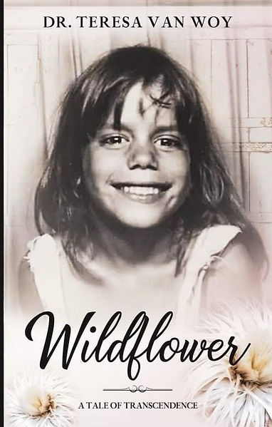 book cover of memoir, Wildflower, homeless girl in San Francisco, poor girl in San Francisco, abused girl in San Francisco, child abuse girl in San Francisco, split family, 9 kids, from Florida to San Francisco, living in a camper story, girl who lived in a camper, girl who begged for food, brother and sister who begged for food, begging for food at KFC
