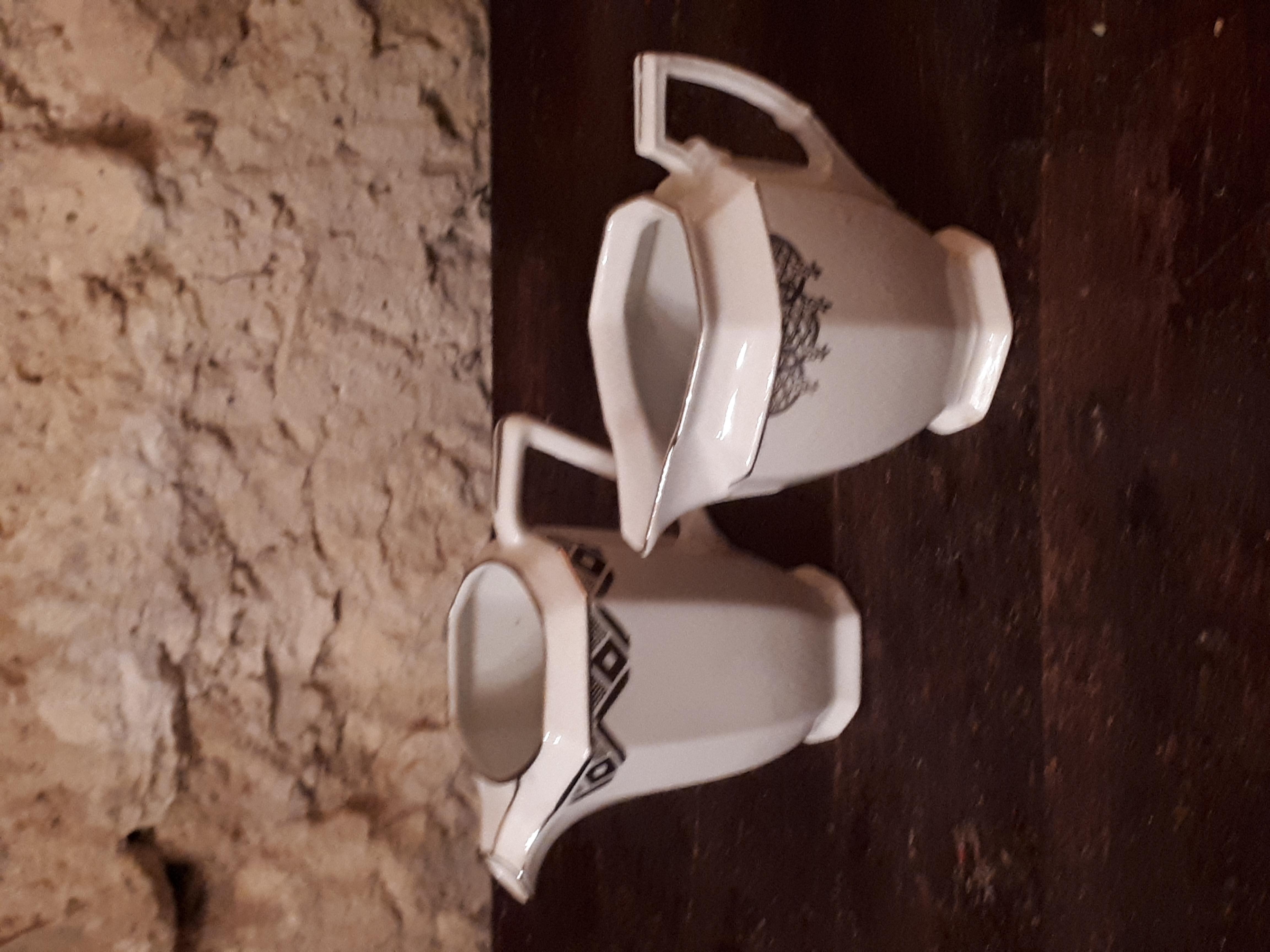 Pot à lait art deco blanc argent