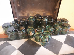 green glass storage or conserve jars x 19