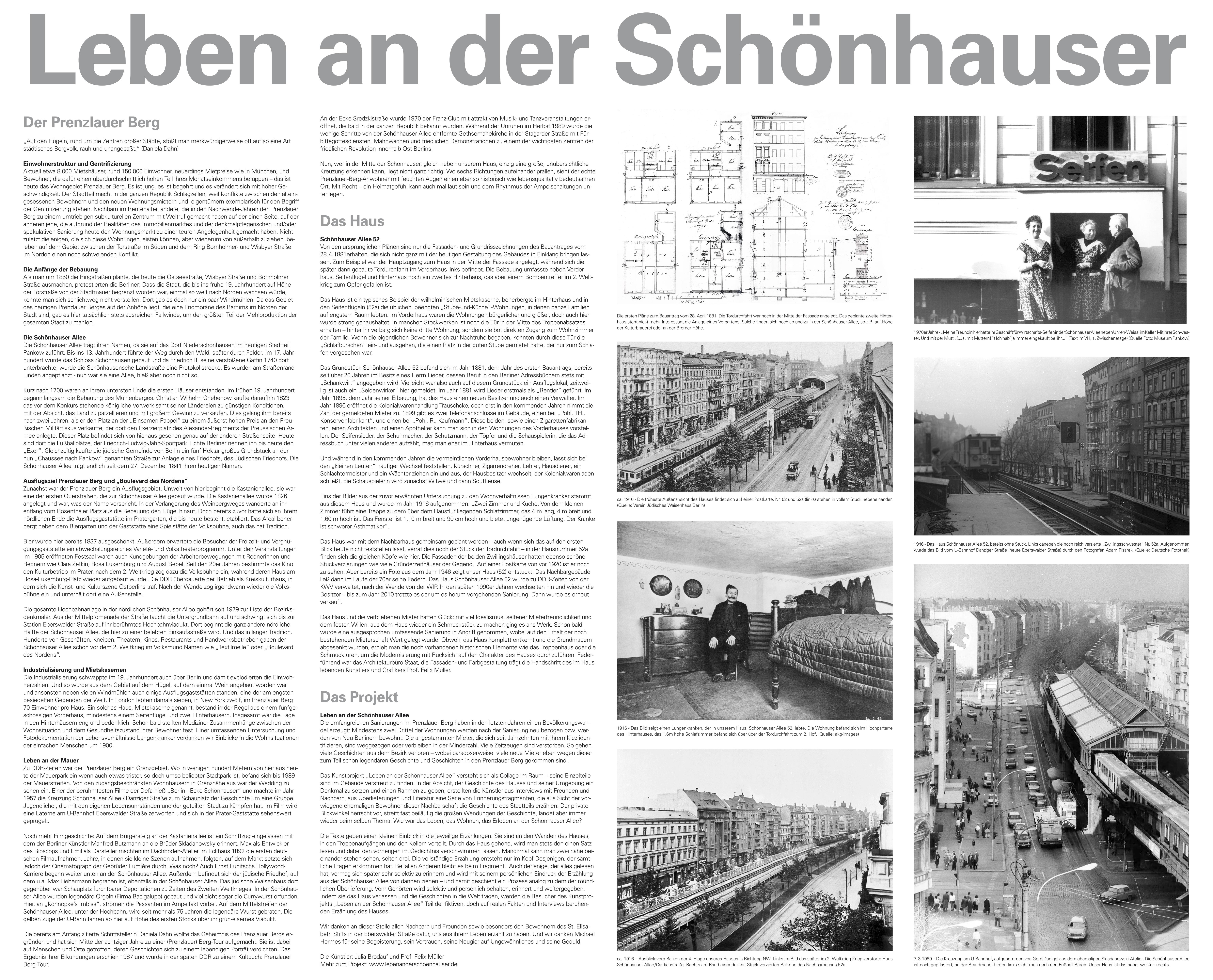 Leben an der Schönhauser - Tafel im Haus