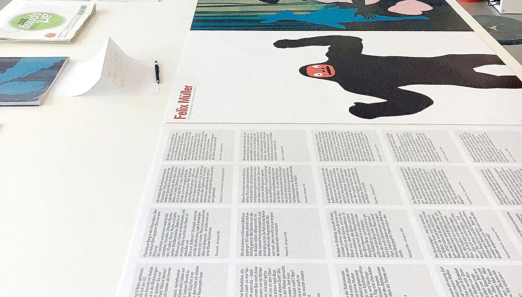 Der Arbeitsraum und Druckerzegnisse der Beriner Grafik-Agentur Muellr and Friends.