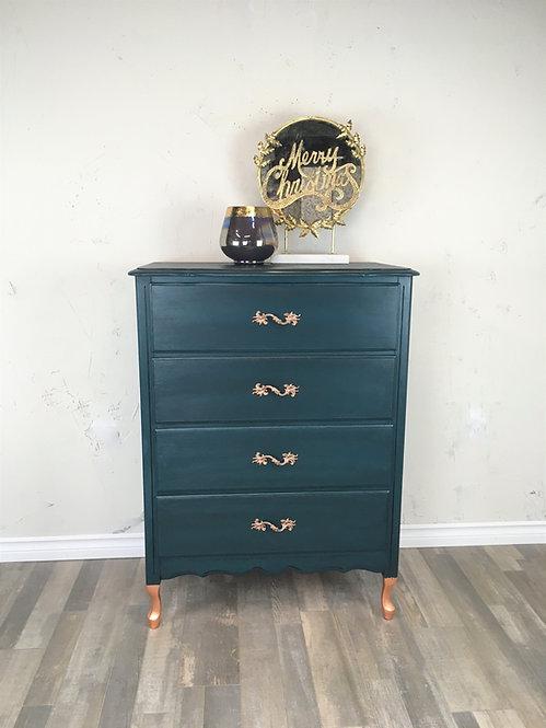 Bohemian Blue with Copper Tallboy Dresser