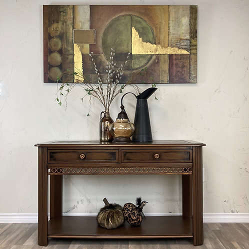 Rustic Bronze Sofa Table with Slate Inlay