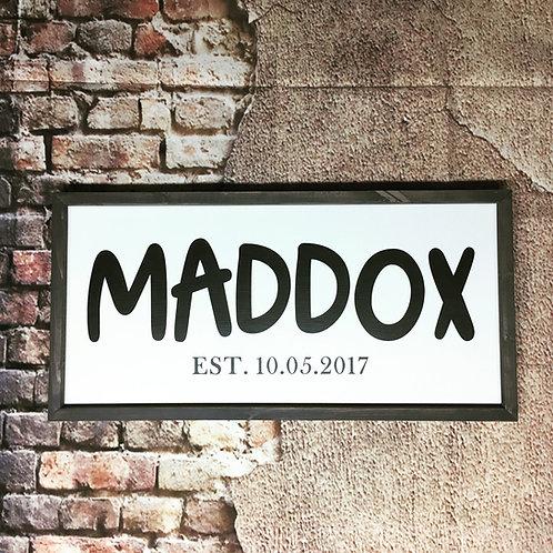 Custom Name with Birthday Farmhouse Sign