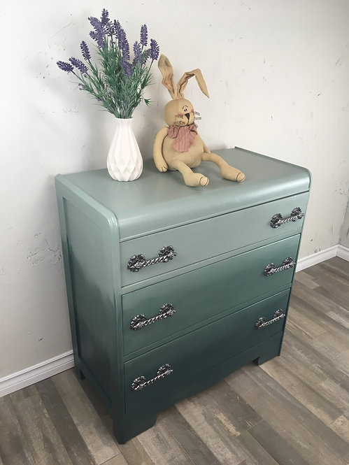 Turquoise Ombre 3 Drawer Vintage Waterfall Dresser