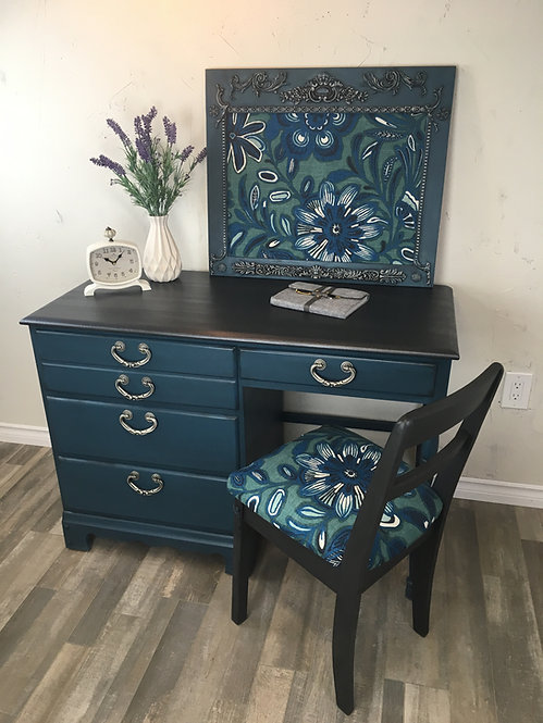 Vintage 4 Drawer Turquoise Desk with Floral Print Chair
