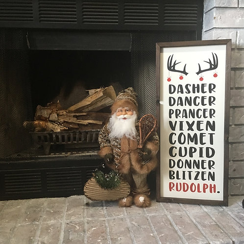 Reindeer Names - Christmas - Farmhouse Sign