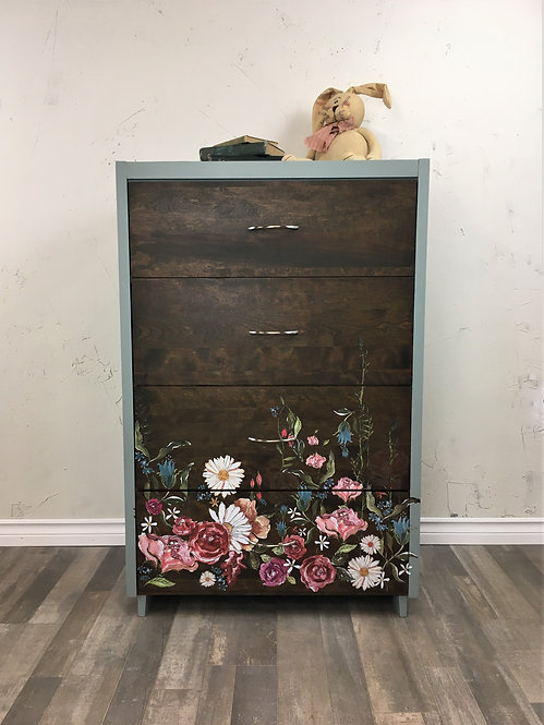 Two Tone Floral Dresser