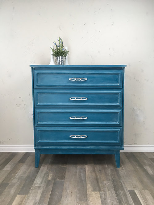 4 Drawer Teal Dresser with Textured Concrete Top