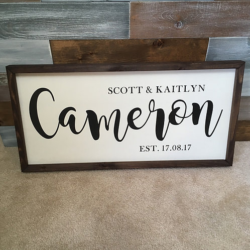 Custom Family Name and Wedding Date Farmhouse Sign