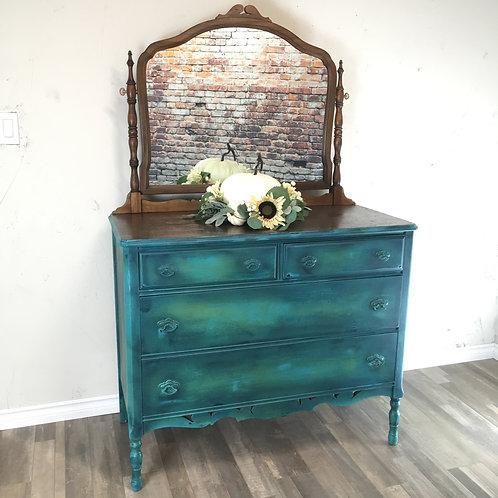 Antique Walnut Dresser with Vanity Mirror