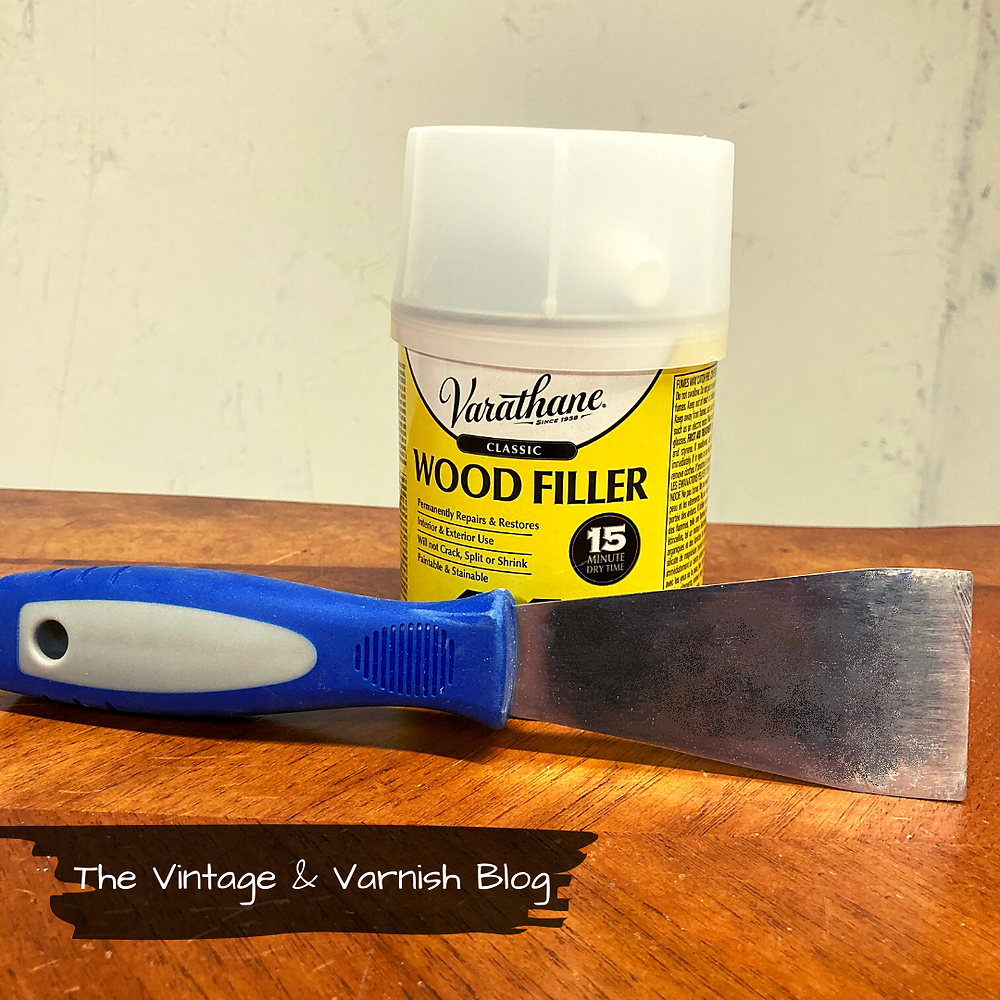 Varathane Classic Wood Filler \ Prepping Furniture for Painting | How to Fill Old Hardware Holes | Painted Furniture Tutorial | The Vintage & Varnish Blog