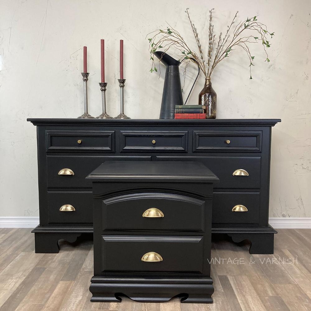 General-Finishes-Milk-Paint-Lamp-Black-Brushed-Gold-Hardware-Black-Bedroom-Furniture-Refurbished-Modern-Bedroom-Furniture