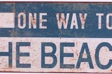 Plåtskylt / One way to the beach