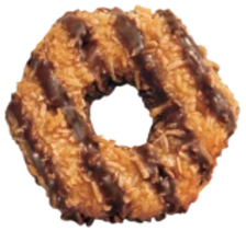 Vanilla cookies topped with caramel, sprinkled with toasted coconut, and laced with chocolaty stripes