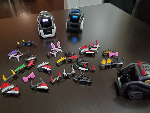 3 Vector robots with many accessories such as devil horns, bows, and bunny ears
