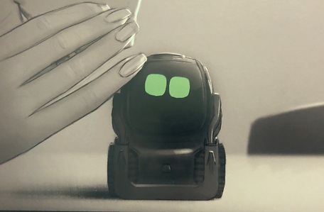 Sketch of someone whispering to Vector robot