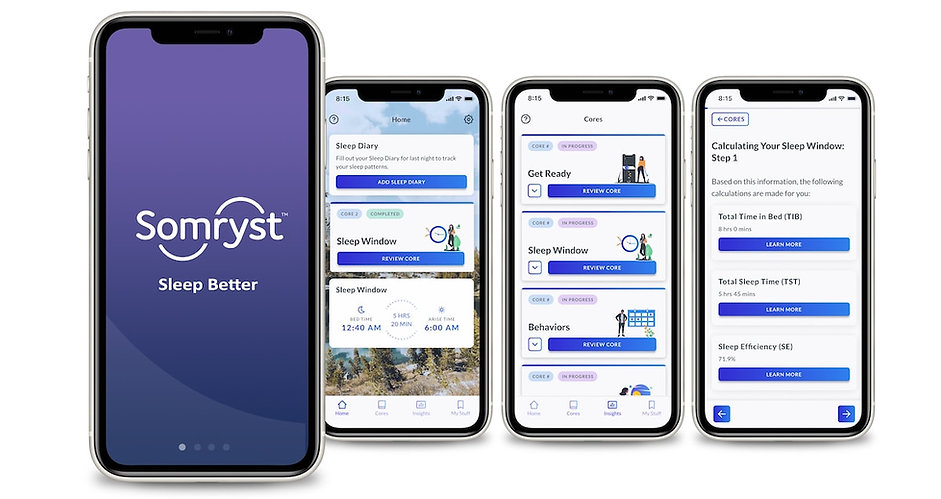 Screens from Somryst digital health app for insomnia
