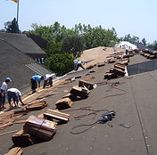 Roofing crew preparing to install a roof