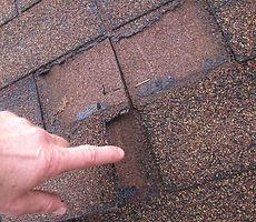 damaged asphalt composition shingles