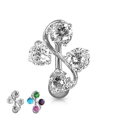 REVERSE DIAMOND DANGLE SILVER BELLY BUTTON NAVEL RING