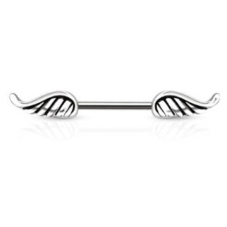 SILVER ANGEL WINGS NIPPLE BAR