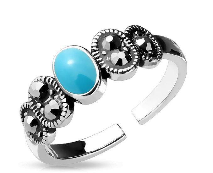 Aqua Turquoise Toe Midi Ring