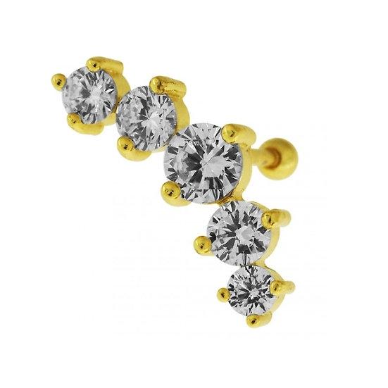 YELLOW GOLD DIAMOND CRESCENT CARTILAGE TRAGUS HELIX STUD BAR