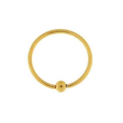 YELLOW GOLD PVD CBR BCR CAPTIVE BALL SEPTUM HOOP 20G RING