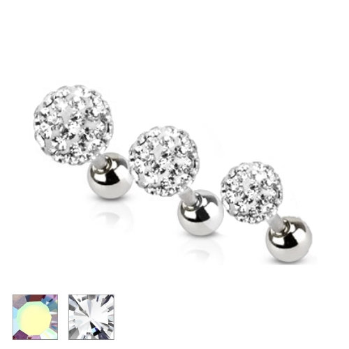 FERIDO CRYSTAL BALL LABRET TRAGUS CARTILAGE BARBELL STUD