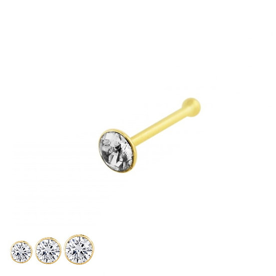 9K YELLOW GOLD CRYSTAL NOSE BONE STUD