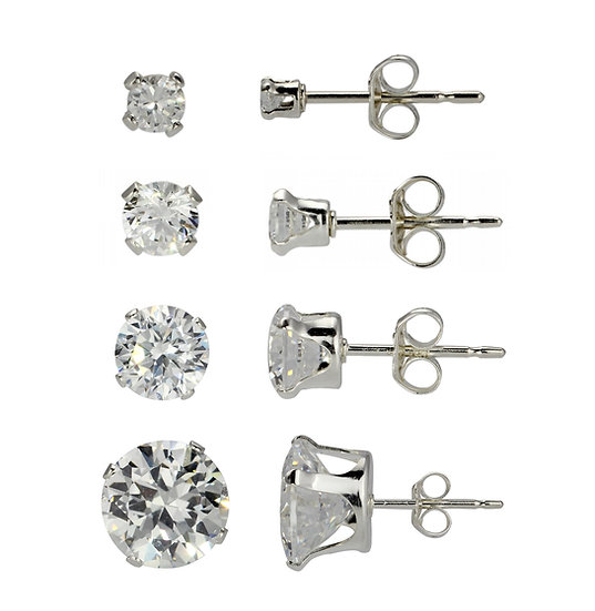 Sterling Silver 8mm 5mm 3mm 2mm Diamond Stud Earrings